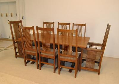 Mission Style Arts & Crafts Oak Dining Room Set With 8 Chairs By Stickley