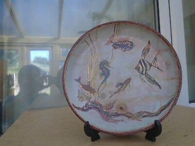 stunning large enamelled copper plate with underwater scene LOOK fish seahorse
