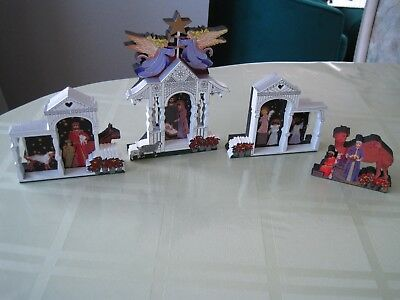 Lot Of 4 Sheila's House Hearts Ville Gazebo Nativity Shelf Sitters Christmas New