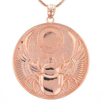 Solid 10k Rose Gold Ancient Egyptian Scarab Beetle Pendant Necklace