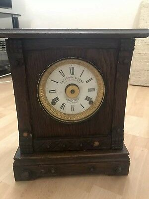 Vintage Wooden Mantle Clock For Spare/Repairs-Fattorini & Sons Automatic alarm