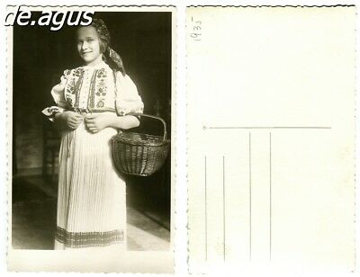 Vintage Postcard Photo from 1935 beautiful girl with basket