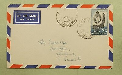 1958 British Solomon Islands Air Mail Gizo Cancel To Russell Island