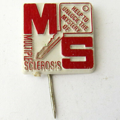 Vintage badge Help to unlock the mystery of MS Multiple sclerosis