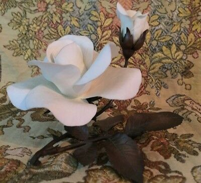 """RARE Boehm White Dawn Rose Roses on Bronze 60040 SHOWROOM CONDITION 5.5"""" Retired"""