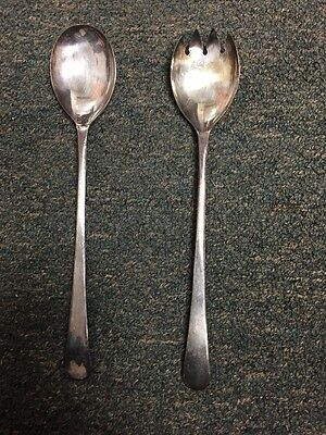 Antique Celtic Quality Silver Plate On Brass Serving Spoon & Fork Set England