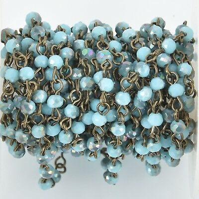 1 yard BLUE IRIDESCENT Crystal Rosary Chain, bronze, 4mm round faceted fch0997a