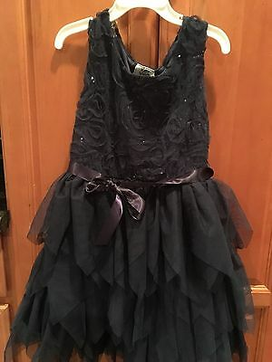 Nwot Dressy Special Occasion Dress Navy Blue With Sequins & Ruffle Skirt ~ Sz 6