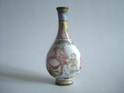 18th Century Qing Dynasty CHINESE SNUFF BOTTLE 1736-1795 Enameled Copper