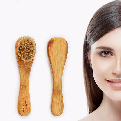 Natural Bristle Wood Handle Face Facial Skin Scrub Cleaner Cleansing Brush Body