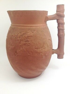 Antique Japanese Terra Cotta Pitcher With Dragon Motif Signed