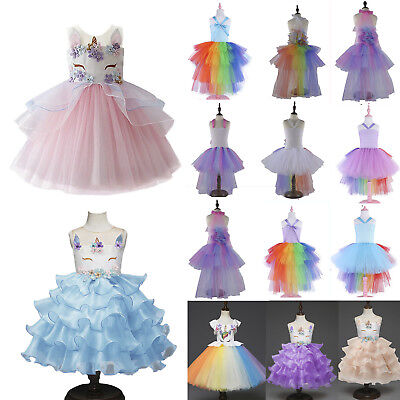 Flower Kids Girls Unicorn Bridesmaid Party Cosplay Fancy Lace Tulle Tutu Dresses
