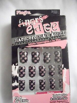 Fing'rs Edge Hardcore Nails #31111 skulls & Crossbones Halloween Accessory New