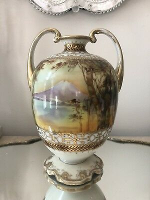 ANTIQUE NIPPON HAND PAINTED SCENIC LANDSCAPE SCENE VASE GOLD GILT RAISED Beading