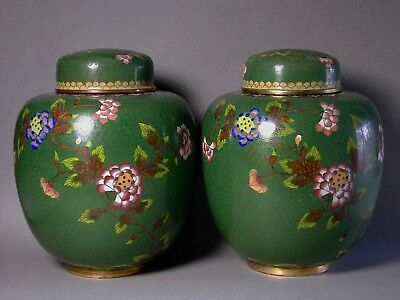 Pair Signed Antique Qing Dynasty Cloisonne Jars + Covers Made Into Good Lamps