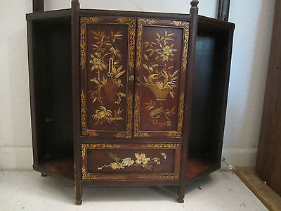 Japanese TANSU Tea Caddy Wall Cabinet Inlaid Bone & MOP Mother-of-Pearl