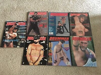 LOT of 7 Vintage Gay DRUMMER MAGAZINES Male Model LEATHER Piercing art pinups