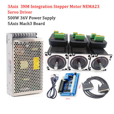 3Axis 428Oz-in Integrated Stepper Motor 3NM Nema23 Driver for CNC Router Kits
