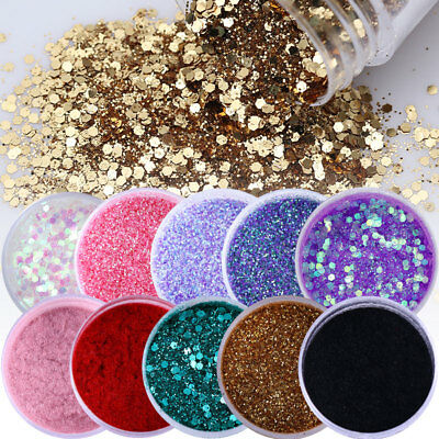 Nail Glitter Iridescent Sequins Chrome Nail Art Pigment Powder UV Gel Polish