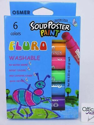 6 x Osmer Solid Poster Paint Washable Crayon Sticks Fluro FPP6*