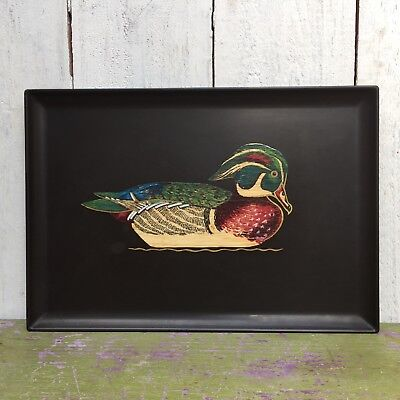Vintage Couroc Of Monterey California USA Hand Inlaid Serving Tray Wood Duck