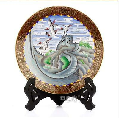 """9"""" Old China handmade cloisonne enamel painting The Great Wall crane plate"""