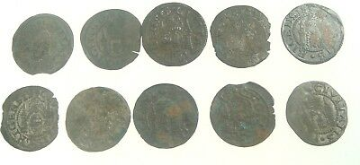 Lot of 10 Old Medieval Livonia Riga Shilling Silver Coins 1571-1578 Nr 9020