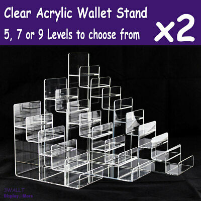 2X WALLET Holder Display Stand Rack-CLEAR Acrylic | 5/7/9 Levels | AUSSIE Seller