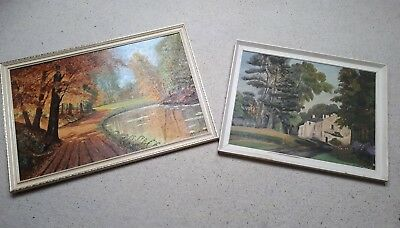 Pair of Large Framed Landscape Paintings - Good Condition - Ready to Hang