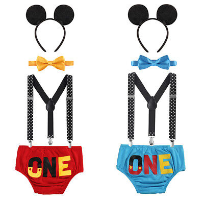 Cake Smash Birthday Outfit Boys Mickey Mouse One Diaper Cover Bow Tie Suspenders