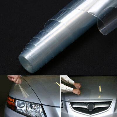 "12"" x 48"" Car Headlight Fog Light Taillight Clear Vinyl Smoke Film Wrap Sticker"