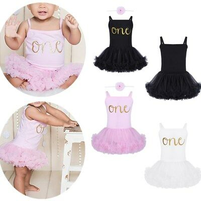 Infant Baby Girls First Birthday Romper Tutu Dress+Headband Outfit Party Set