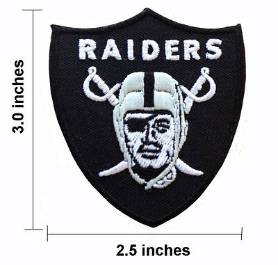 """Oakland Raiders Football Black Size 2.5"""" Embroidered Iron On Patch."""