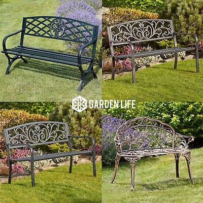 Garden Life Metal Bench Outdoor Patio Furniture Cast Iron Powder Coated Steel