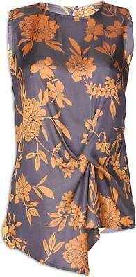 Camille Womens Fashion Ex Highstreet Grey And Orange Floral Satin Feel Top