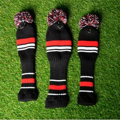 3pcs Knit Golf Fairway Wood Head Covers Golf Pom Pom Headcover Replacements
