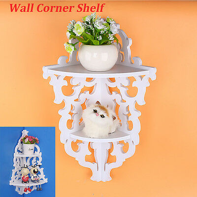 White Shabby Chic Filigree Style Wall Shelf Hollow Design Hanging Storage Decor