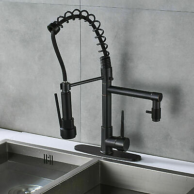 Pull Down Sprayer Kitchen Sink Faucet - Modern Stainless Steel Single Handle Spr
