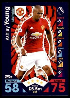 Match Attax 2016-2017 EXTRA Ashley Young Manchester United Base card No. U34