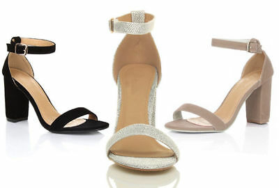 1732dfd48 Womens Strappy Sandals Block Mid High Heel Ladies Open Toe Evening Party  Shoes
