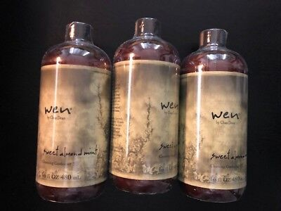 Lot of  3  WEN Sweet Almond Mint Cleansing Conditioner 16 Oz  Brand New Sealed