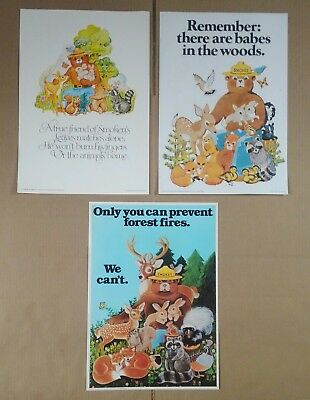 3 Vintage Smokey The Bear Fire Prevention Posters 70's US Forest Service