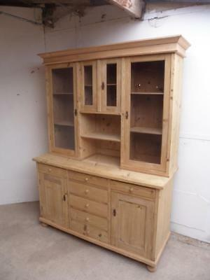 A Tall Antique/Old Pine 4 Door Large Kitchen Dresser to Wax/Paint