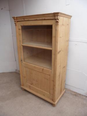 A Quality Late Victorian Antique/Old Pine 1 Door Display Cabinet to Wax/Paint