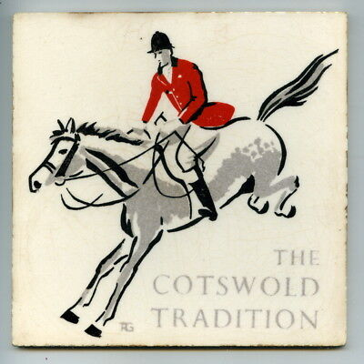 "Screen printed 6"" sq ""The Cotswold Tradition"" picture tile by unidentified, 1950"