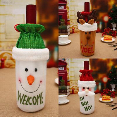 Bag Wine Bottle Christmas Cover Gift Tree Holiday Snowman Elk Decoration