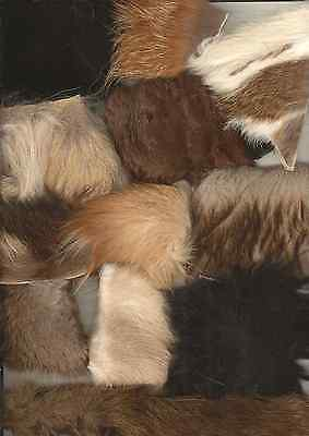 40 pcs natural fur...fox, mink, rabbit, coyote...mountain man, crafts, fly tying