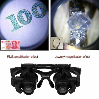 10X 15X 20X 25X LED Glasses Jeweler Magnifier Watch Repair Magnifying Loupe G HO