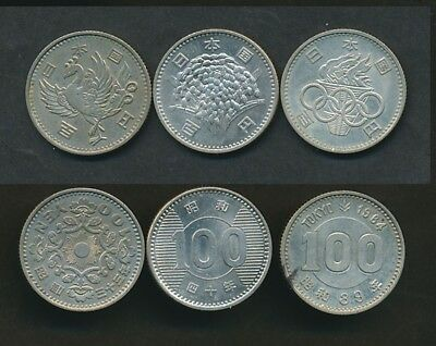 Japan: Silver 100 Yen Coin Complete 3 Types Set Phoenix, Olympic, Rice