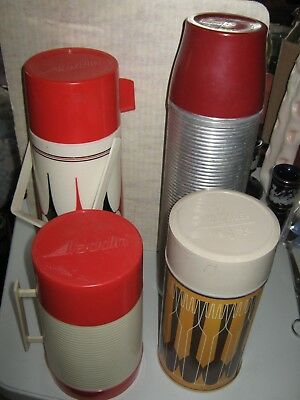 Lot 4 Vtg Thermoses 2 Aladdin & 2 Thermos brand All Complete